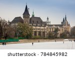 Small photo of BUDAPEST, HUNGARY - DECEMBER 17, 2017: The Vajdahunyad Castle and the ice rink of City Park in Hungarian: Varosliget are seen at Hosok tere on December 17, 2017 in Budapest, Hunga