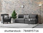 modern living room interior...   Shutterstock . vector #784895716