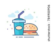fast food icon in outlined flat ... | Shutterstock .eps vector #784900906