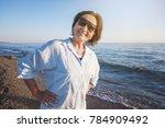 portrait of a stylish... | Shutterstock . vector #784909492