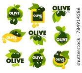 green olive leaves  lettering... | Shutterstock .eps vector #784914286