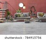 modern loft living room stairs... | Shutterstock . vector #784915756