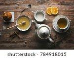 beautiful arranged tea set up.... | Shutterstock . vector #784918015