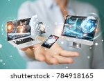 tech devices connected to each... | Shutterstock . vector #784918165