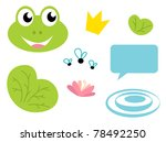 fairy frog cartoon icons and...