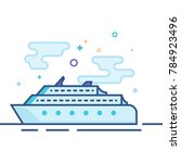 cruise ship icon in outlined... | Shutterstock .eps vector #784923496