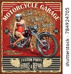 vintage motorcycle poster. | Shutterstock .eps vector #784924705