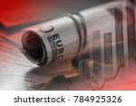 roll of a euro banknotes.macro... | Shutterstock . vector #784925326