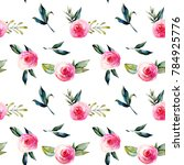 Stock photo watercolor red roses green leaves and branches seamless pattern hand drawn on a white background 784925776
