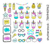 set of cute colorful unicorns... | Shutterstock .eps vector #784940962