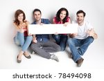 four friends showing a white... | Shutterstock . vector #78494098
