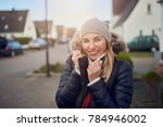 smiling happy middle aged woman ... | Shutterstock . vector #784946002