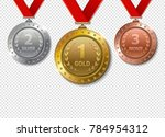 set of realistic 3d champion... | Shutterstock . vector #784954312