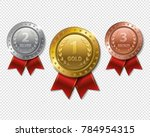 set of realistic 3d champion... | Shutterstock . vector #784954315