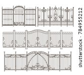 iron gate and fence design with ... | Shutterstock . vector #784955212