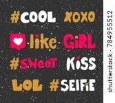 cute xoxo like girl sweet kiss... | Shutterstock .eps vector #784955512