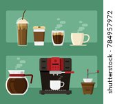coffee icons and coffee machine ... | Shutterstock .eps vector #784957972