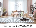 black pillows on patterned... | Shutterstock . vector #784968538