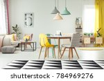 geometric carpet in cozy living ... | Shutterstock . vector #784969276