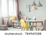 pastel lamps above wooden round ... | Shutterstock . vector #784969288