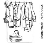 hand drawn wardrobe sketch.... | Shutterstock .eps vector #784970965