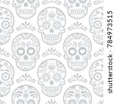 mexican sugar skull vector... | Shutterstock .eps vector #784973515