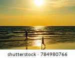 sandy beach  golden sea  sunset | Shutterstock . vector #784980766