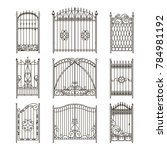 iron gates with decorative... | Shutterstock . vector #784981192