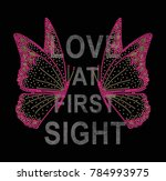 shiny butterfly with slogan  | Shutterstock . vector #784993975