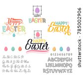 happy easter   font. vector... | Shutterstock .eps vector #785002906