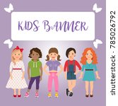 kids banner with girls on pink... | Shutterstock . vector #785026792