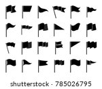black flags icons and pennants... | Shutterstock . vector #785026795