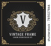 vintage luxury monogram banner...   Shutterstock .eps vector #785027866