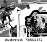 hand drawing black and white... | Shutterstock .eps vector #785031592