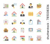 real estate flat vector icons... | Shutterstock .eps vector #785038336