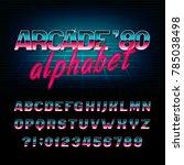 arcade 80's retro alphabet font.... | Shutterstock .eps vector #785038498
