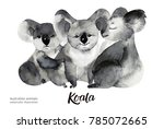 australian animals watercolor...   Shutterstock . vector #785072665