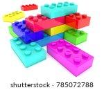 multicolored toy bricks on... | Shutterstock . vector #785072788