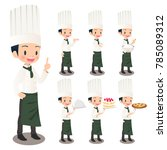 illustration set of a male chef | Shutterstock .eps vector #785089312