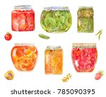 set of canned tomatos ... | Shutterstock . vector #785090395