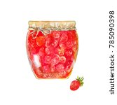 strawberry jam. traditional... | Shutterstock . vector #785090398