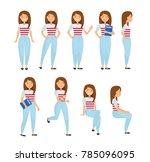 young woman vector character... | Shutterstock .eps vector #785096095