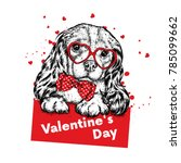 Cute Dog With Hearts  Glasses...