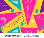 memphis seamless pattern.... | Shutterstock .eps vector #785106202