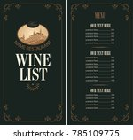 vector wine list with a price... | Shutterstock .eps vector #785109775