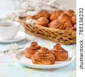 homemade cinnamon buns cakes on ... | Shutterstock . vector #785136232