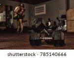 selective focus on dumbbells... | Shutterstock . vector #785140666