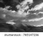 mountain with snow in black and ... | Shutterstock . vector #785147236