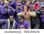 Small photo of Dallas, Texas / USA - March 23, 2013: Men of Omega Psi Phi Fraternity and a woman from the Delta Sigma Theta Sorority at the Mayor Mike Rawlings of Dallas Rally Against Domestic Violence
