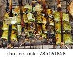 rice skewer cambodia   Shutterstock . vector #785161858